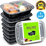 Bento Lunch Box Set - Meal Prep Food Storage - Restaurant Containers - Plastic Foodsaver (8pk, 34oz)