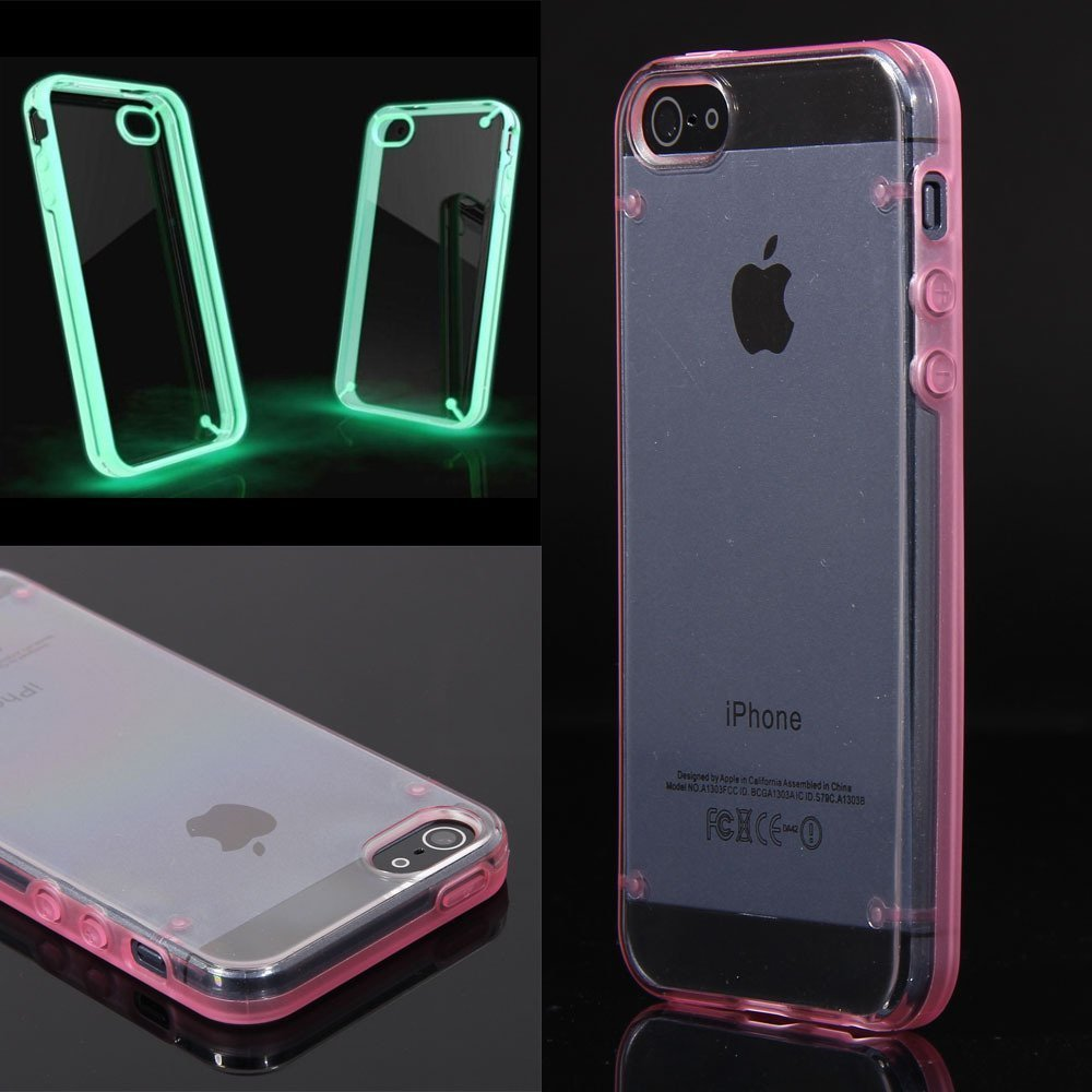 Luminous Style Glowing Hard Bumper Skin Back Case Cover For iPhone 5 5G 5th Pink