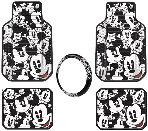 Mickey Mouse Classic Expressions Faces Front & Rear Car Truck Suv Seat Plasticlear Floor Mats & Steering Wheel Cover - 5Pc front-915640