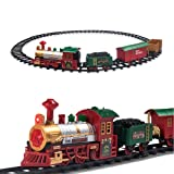 PUSITI Classic Electronic Christmas Train Set for Under The Tree with Lights and Sounds Railway Tracks Locomotive Engine Coach Cargo Car Coal Car and 11.5 Ft Tracks Playset Gift for Kids
