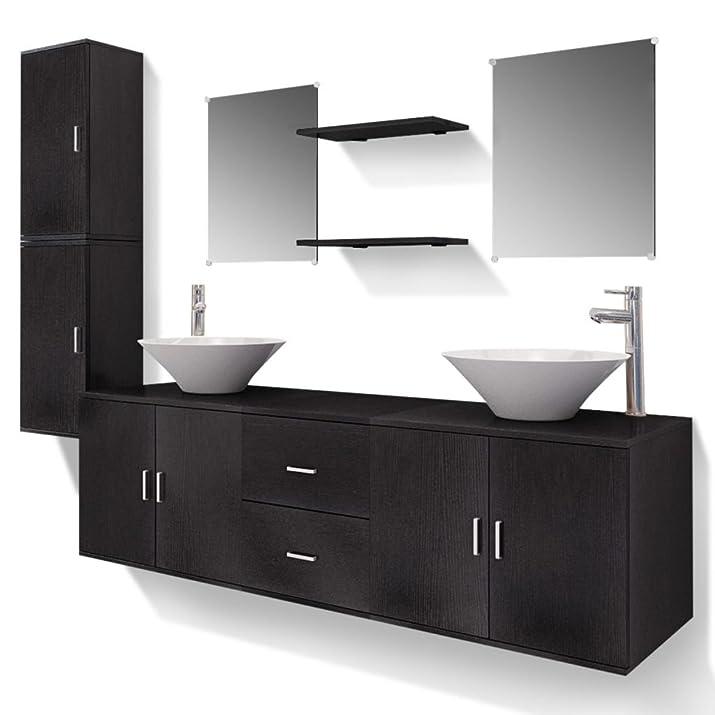 vidaXL Set 11 Mobili per bagno armadietti lavandino specchi con rubinetto nero