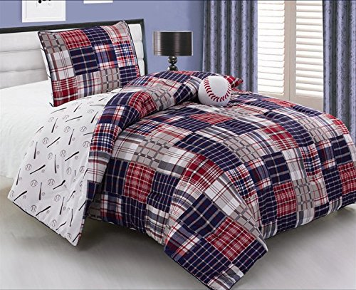 3 Piece Baseball Sports Theme Plaid Red, White and Blue Comforter Set FULL Size Bedding. Works well in your bedroom, Master Room, Boys, Girls, Guest Room and College Dormitory, Great Gift Idea. (Boys Comforter Full Size compare prices)