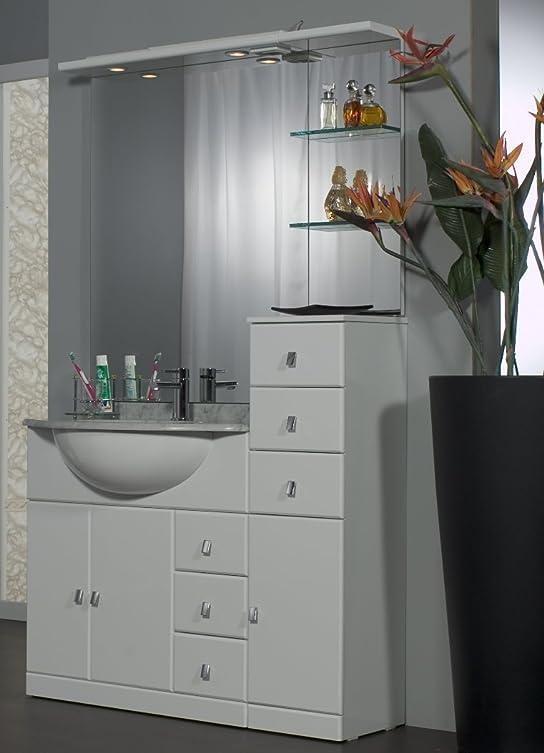 Mobile Arredo Bagno cm 80+30 con lavabo sottopiano bianco lucido con specchio Mobili