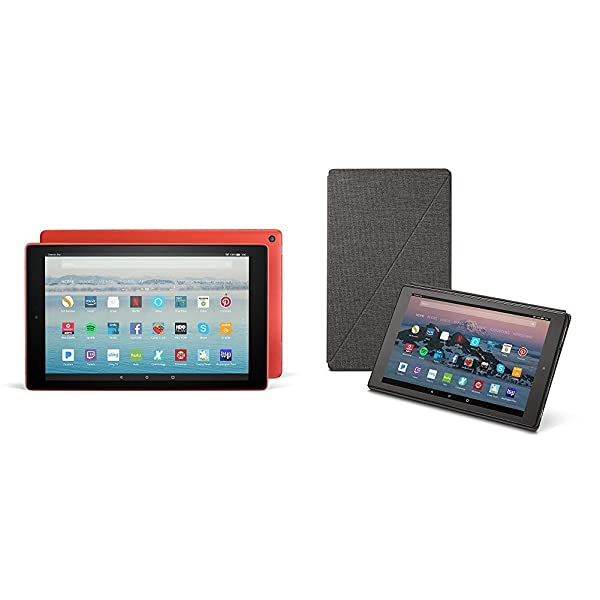 Fire HD 10 Tablet (64 GB, Punch Red, With Special Offers) + Amazon Standing Case (Charcoal Black) (Color: Punch Red)