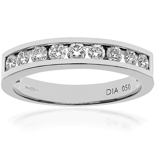 Naava 0.50 ct IJ/I Certified Round Brilliant Diamonds Channel Set Gold Half Eternity Ring