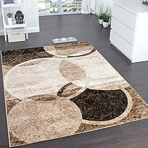 Designer Rug Living Room Rug Circular Pattern in Brown Beige Unbeatable Deal by Paco Home