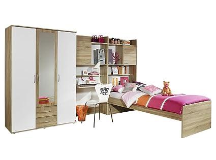 Rauch Jugendzimmer Kinderzimmer Komplett Set 4-teilig, Weiß Alpin, Absetzungen Eiche Sonoma, Stellmaß BxHxL 317 x 188 x 237 cm