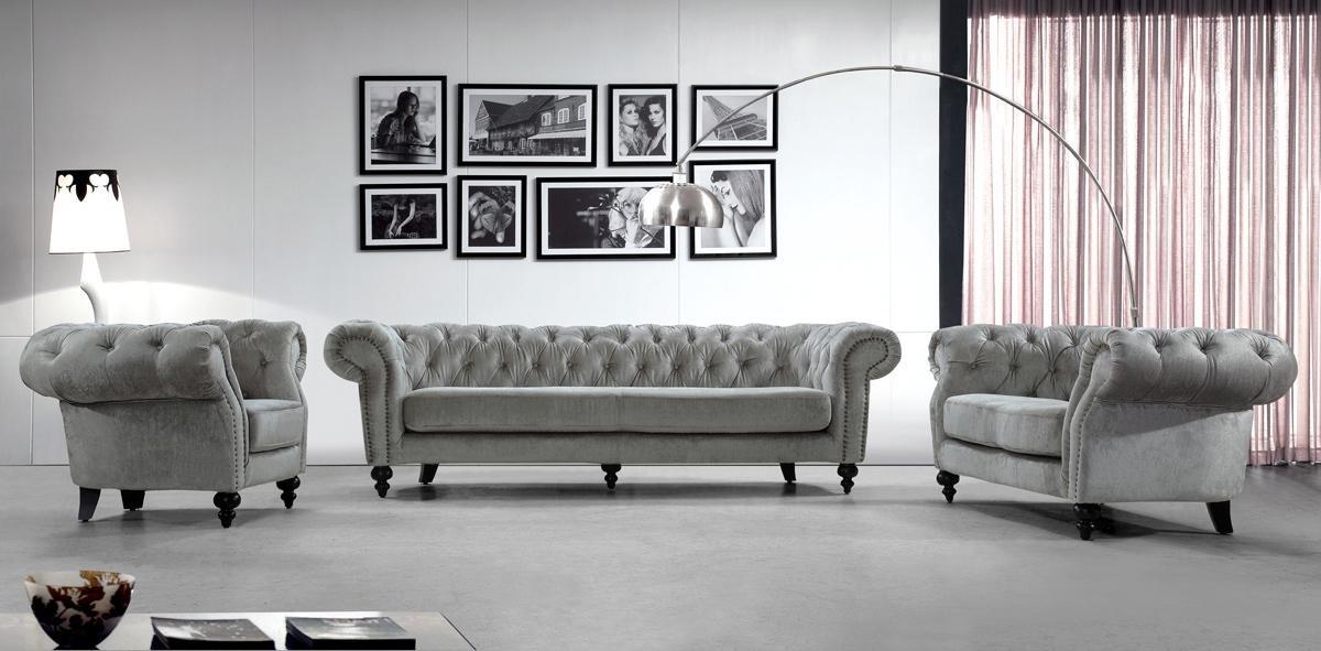 Divani Alexandrina Grey Tufted Fabric Sofa Set