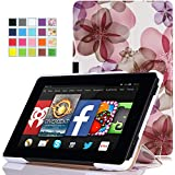 MoKo Amazon Kindle Fire HD 7 2014 Case - Ultra Slim Lightweight Smart-shell Cover Case for Amazon Kindle Fire HD 7 Inch 2014 Tablet, Floral PURPLE (With Smart Cover Auto Wake / Sleep)