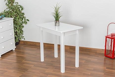 Esszimmertisch 50x80 cm Kiefer massiv, Farbe: Weiß