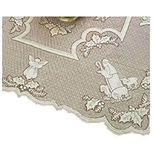 Heritage Lace Silent Night 45-Inch by 45-Inch White Table Topper