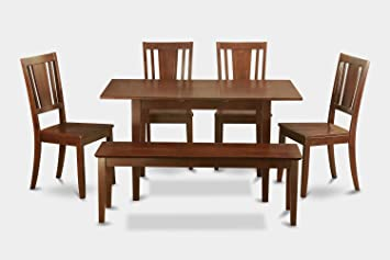 East West Furniture NODU6C-MAH-W 6-Piece Kitchen Nook Dining Table Set