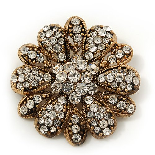 Vintage Swarovski Crystal Floral Brooch (Antique Gold) 6