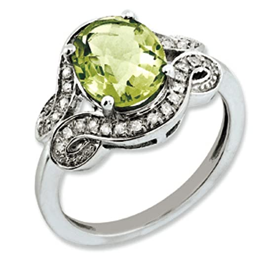 Sterling Silver Rough Diamond and Oval Lemon Quartz Ring - Ring Size Options Range: J to T