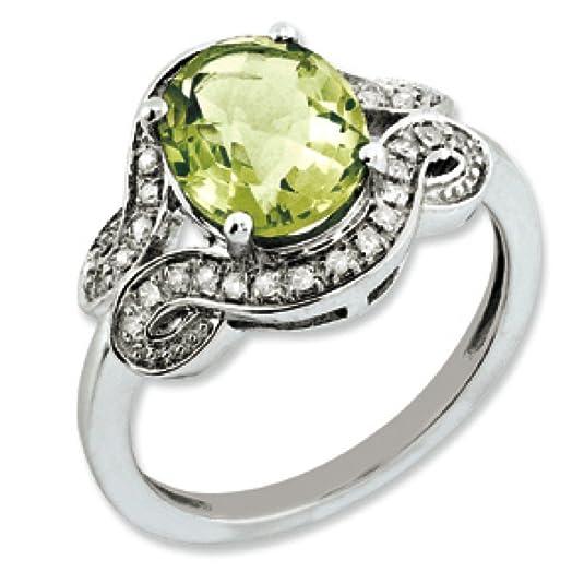 Sterling Silver Rough Diamond and Oval Lemon Quartz Ring - Ring Size Options Range: J to T