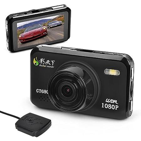 """E-PRANCE GS608 Caméra de voiture avec enregistreur et processeur Novatek 1080P Angle 120° Détecteur de mouvement Capteurs CMOS 5 Mpx Noir 1,5"""" GT680W+GPS DVR"""