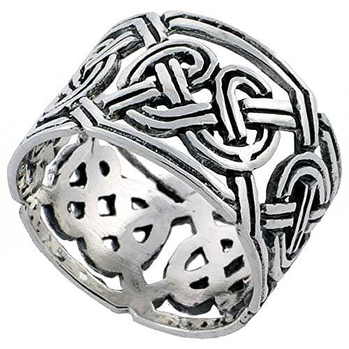 Sterling Silver Celtic Knot Wedding Band Thumb Ring 1/2 Inch Wide, Size 6