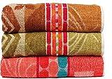 Casa Basics 400 GSM Set Of 3 Jacquard Large Bath Towels 68 X 137 cm- Brown,Green & Yellow