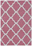 Maxy Home Shag Moroccan Trellis Pink & Ivory 5' x 7' Contemporary Area Rug BEL2897