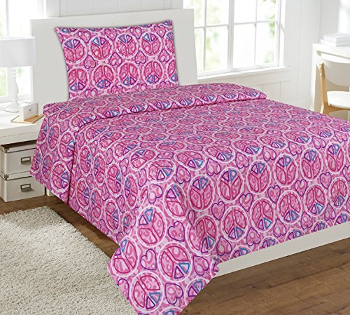 Mk Collection 4 pc Sheet Set Pink Purple Heart Peace Sign Teens/girls Pink peace love New (Full) (Girls Sheets Full compare prices)