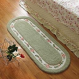 Sytian® Large Size 45*125cm Floral & Rural Rug Beautiful & Romantic Rose Flower Rug Shaggy Area Rug Soft Doormat Floor Mat Bedroom Carpet / Non Slip Absorbent Bath Mat Bathroom Shower Rug (Beautiful Green)