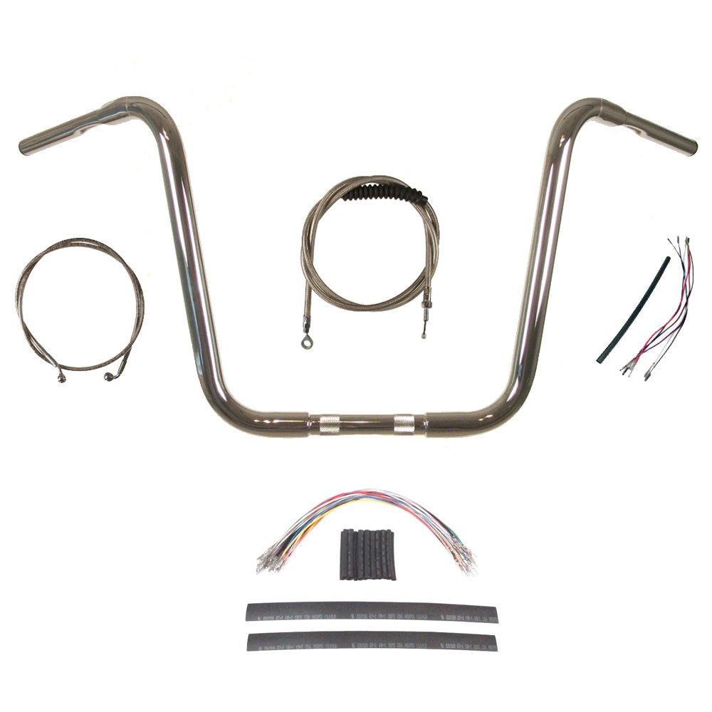 Hill Country Customs 1 1/4 Chrome 16 Ape Hanger Handlebar KIT for 2008-2013 Harley-Davidson Road Glide & Road King w/ABS BC-HC-11416C-RGK08-ABS two up tour pak pack mounting rack for harley touring street electra glide road king flht flhrc flhr flhx 2009 2013 new