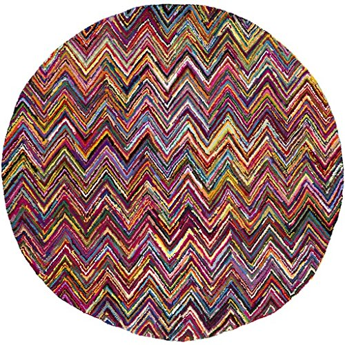 8' Electric Chevrons Magenta Pink, Cornsilk Yellow And Sea Blue Hand Hooked Round Area Throw Rug