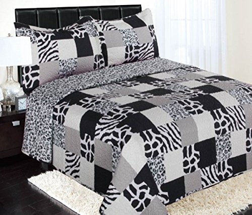 GorgeousHome **Different Sizes/Designs** 2/3 pc High Quality Reversible Fully Quilt Double Sided Bedspread Bed Coverlets Cover Set Pillow Cases Included (Queen, Raina Patchwork Animal Design) (High Quality Quilts compare prices)