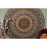 "Indian Elephant Mandala Hippie Hippy Bohemian Cotton Tapestry Decor Art 86x94"" By Bhagyoday"