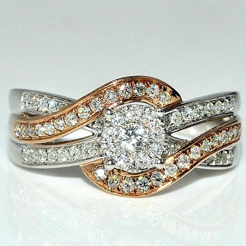 Wedding Ring Rose Gold And White Gold 0.5Ct 14K Cris Cross Style 10Mm Wide