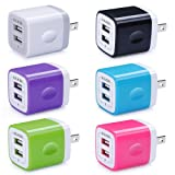 USB Wall Charger, Charger Adapter, Ailkin 6-Pack 2.1Amp Dual Port Quick Charger Plug Cube Replacement for iPhone X/8/7/6S/6S Plus/6 Plus/6, Samsung Galaxy S7/S6/S5 Edge, LG, HTC, Huawei, Moto etc. (Color: 03-Colorful)