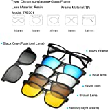 5pcs Magnetic Clip-on Polarized Night Vision Sunglasses Tr90 Eyeglass Frames (TR2201) (Color: Tr2201)