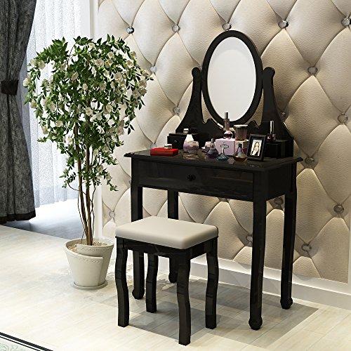 Songmics specchiera nero con sgabello toletta da trucco da toeletta per camera da letto rdt02h - Toletta da camera ...
