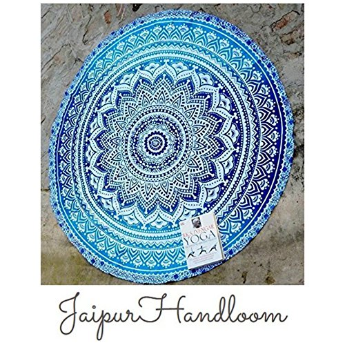 jaipurhandloom indien mandala rond roundie tapisserie couverture de plage hippie boho gypsy. Black Bedroom Furniture Sets. Home Design Ideas