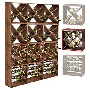 Cantinetta / scaffale per vino / sistema CUBE 50, legno massiccio, modulo a rombo - a 50 x l 50 ...