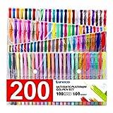 200 Coloring Gel Pens Set, Laneco 100 Unique coloring Pens Plus 100 ink Refills, 20% More Ink Than Normal gel Pen, Medium-Point (0.8 mm), Non Toxic & Acid Free , Ideal for Adult Coloring Book