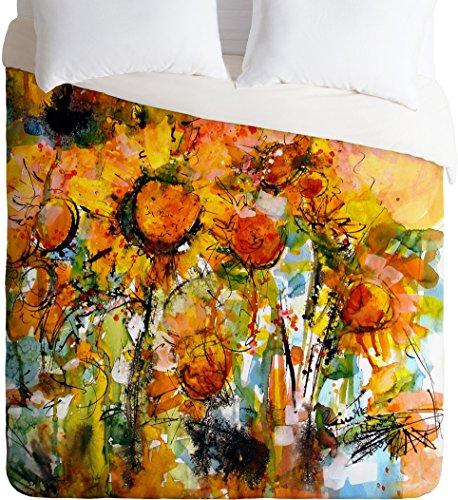 DENY Designs Ginette Fine Art Abstract Sunflowers Lightweight Duvet Cover, King