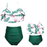 Mommy and Me Swimsuits High Waisted Family Matching Swimwear Baby Girls Floral Printed Bikini Set (XL, 06-Green-Women) (Color: 06-green-women, Tamaño: X-Large)