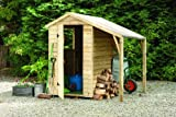 6' x 4' Wooden Garden Shed And Lean To Covered Storage Area Single Door Apex Roof Low Maintenance Overlap Wood 15 Year Anti-Rot Guarantee