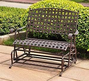 International Caravan Santa Fe Iron Porch Double Glider Garden Bench Wrought