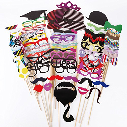 Leiwo Photo Booth Props DIY Kit for Wedding Party Reunions Birthdays Photobooth Dress-up Accessories & Party Favors, Costumes with Mustache on a stick, Hats, Glasses, Mouth, Bowler, Bowties (76 piece)