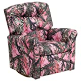 Flash Furniture Kids Camouflage Fabric Rocker Recliner, Pink