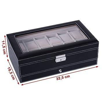 5 Songmics Caja para 12 de Relojes y cajón Joyería Soporte de ... d00ebdbaa11