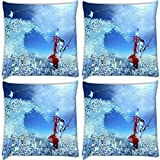 Snoogg Abstraction Creative Art Pack Of 4 Digitally Printed Cushion Cover Pillows 16 X 16 Inch