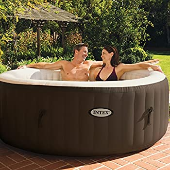 Intex PureSpa 4-Person Inflatable Bubble Jet Spa Portable Heated Hot Tub, Brown