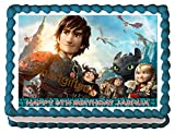 PERSONALISED How to Train Your Dragon Edible Birthday Icing Cake Topper A4 Full (8