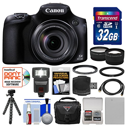 Canon PowerShot SX60 HS Wi-Fi Digital Camera with 32GB Card + Case + Flash + Battery + Tripod + Tele/Wide Lens Kit (Sx600 Hs Bundle compare prices)