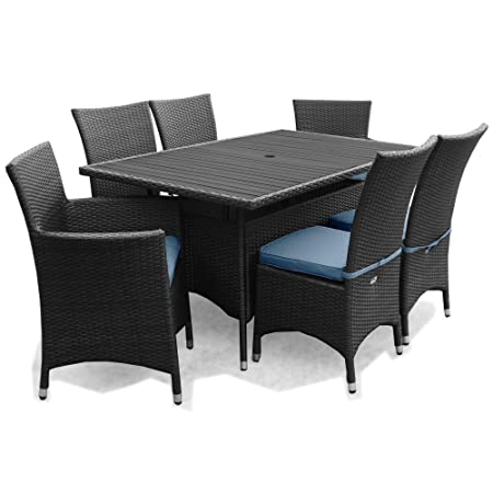 Appledore Rattan Garden Patio Furniture 6 Seater Rectangular Dining Set Black