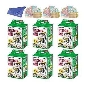 Fuji Instax Mini Instant Film with Microfiber Cleaning Cloth and 100 Pieces Sticker for Fuji Mini 90 8 70 7s 50s 25 300 Camera SP-1 Printer