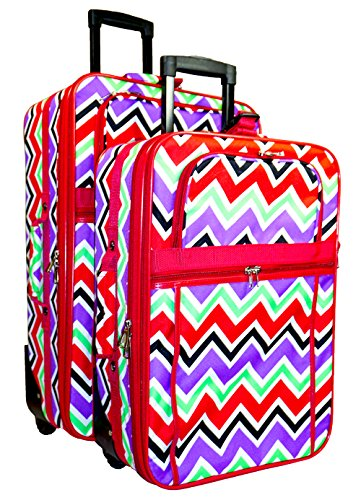 World Traveler Red Multicolor Chevron Two Piece Rolling Luggage Set